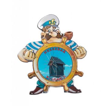 Релефна магнитна пластинка във формата на капитан зад руля - старата мелница, Несебър