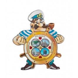 Релефна магнитна пластинка във формата на капитан зад руля - Балчик, Варна, Калиакра, Несебър