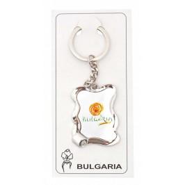 Сувенирен ключодържател - метална пластинка с надпис България и цвете