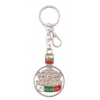 Сувенирен метален ключодържател - гербът и знамето на България