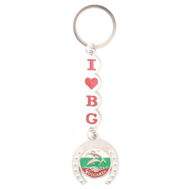 Сувенирен метален ключодържател - подкова с делфини и надпис I ♥ BG