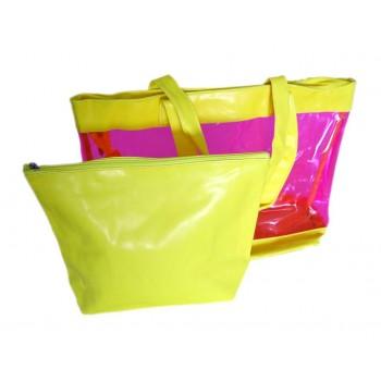 Комплектът включва - цветна плажна чанта и малка чанта без дръжки