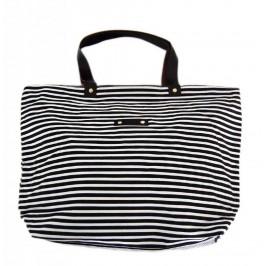 Лятна чанта текстил - раирана - черно и бяло