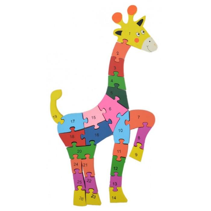 Дървен пъзел, състоящ се от 26 части с цифри и латински букви на гърба - жираф