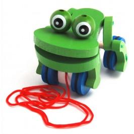 Сувенирна дървена фигурка - жаба с въженце