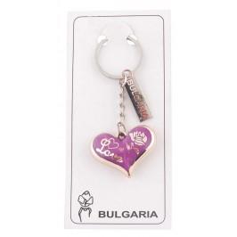 Сувенирен ключодържател във формата на сърце с пластинка - България