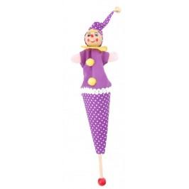Сувенир от дърво - кукла на дървена пръчка със звънче