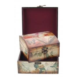 Комплект от 2бр. дървени кутии с цветен принт