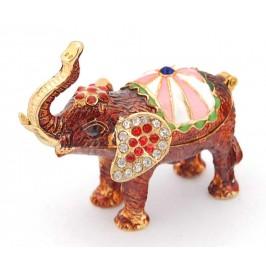 Декоративна кутийка за бижута във формата на слон - фаберже, украсена с камъни