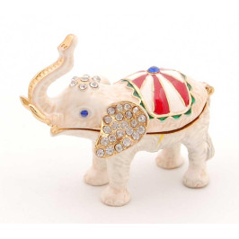 Метална кутийка за бижута във формата на слон - фаберже, украсена с камъни