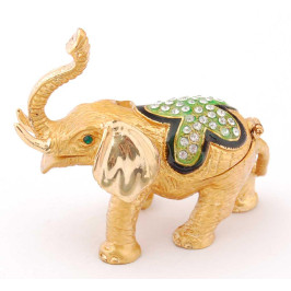 Метална декоративна кутия за бижута във формата на слон - фаберже