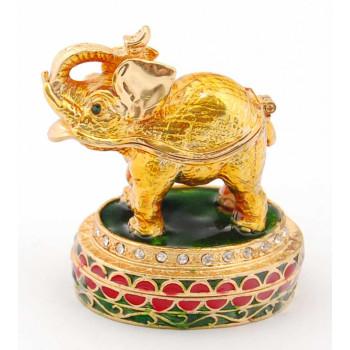 Метална декоративна кутийка за бижута във формата на слон върху поставка - фаберже