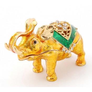 Декоративна метална кутийка за бижута във формата на слон - фаберже