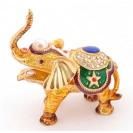 Кутийка за бижута във формата на слон - фаберже, декорирана с камъни