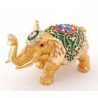 Кутийка за бижута във формата на слон - фаберже, стилно украсена с камъни