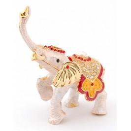 Метална кутия за бижута във формата на слон - фаберже, украсена с камъни и перла