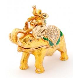 Декоративна кутийка за бижута във формата на слон с малко слонче на гърба - фаберже