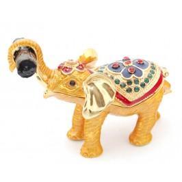 Декоративна кутийка за бижута във формата на слон - фаберже, стилно украсена с камъни