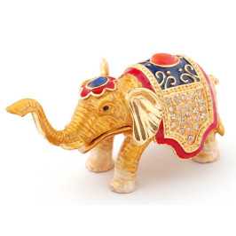 Декоративна метална кутийка за бижута във формата на слон - фаберже, украсена с камъни
