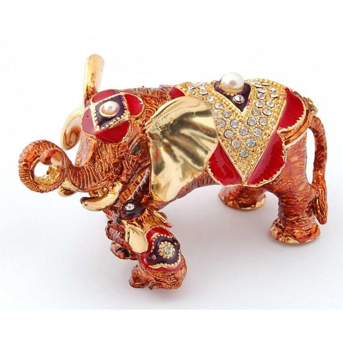 Декоративна кутия за бижута във формата на слон с малко слонче - фаберже