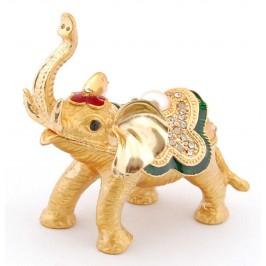 Декоративна кутийка за бижута във формата на слон - фаберже, украсена с камъни и перла
