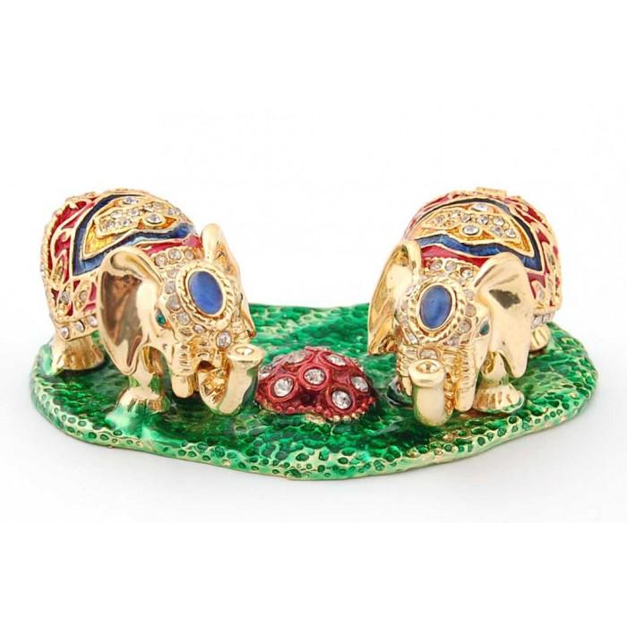 Декоративна метална кутийка за бижута във формата на две слончета - фаберже