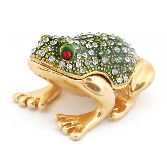 Метална декоративна кутийка за бижута във формата на жаба - фаберже