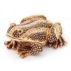 Декоративна метална кутийка за бижута във формата на жаба - фаберже