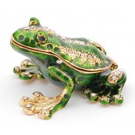 Кутийка за бижута във формата на жаба - фаберже, декорирана с камъни