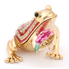 Декоративна кутийка за бижута във формата на жаба, държаща цвете - фаберже