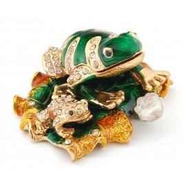 Декоративна кутийка за бижута във формата на жаба с малкото си върху водна лилия - фаберже