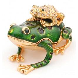 Декоративна метална кутийка за бижута във формата на жаба с малкото си - фаберже