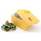 Декоративна кутийка за бижута във формата на жаба с малкото си върху листо - фаберже
