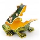 Декоративна метална кутийка за бижута във формата на жаба с паричка - фаберже