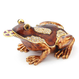 Декоративна кутийка за бижута във формата на жаба с паричка - фаберже