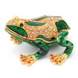 Кутийка за бижута във формата на жаба, украсена с камъни