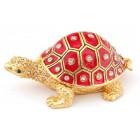 Стилно украсена декоративна кутийка за бижута във формата на костенурка - фаберже