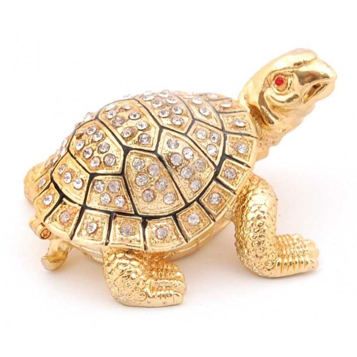 Стилно декорирана метална кутийка за бижута във формата на костенурка - фаберже