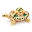 Декоративна кутийка за бижута във формата на костенурка с малкото си - фаберже