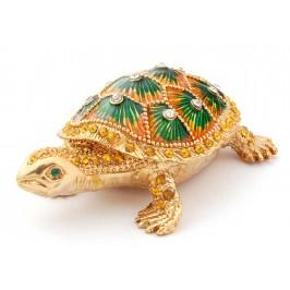 Стилно декорирана кутийка за бижута във формата на костенурка - фаберже