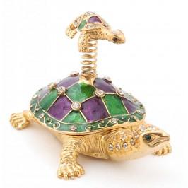 Декоративна кутийка за бижута във формата на костенурка с малкото си върху пружина - фаберже