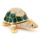 Декоративна метална кутийка за бижута във формата на костенурка - фаберже