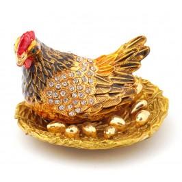 Декоративна метална кутийка за бижута във формата на кокошка с яйца - фаберже
