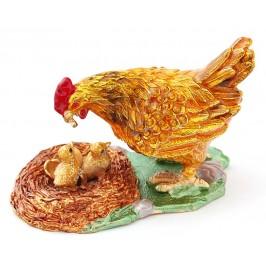 Декоративна метална кутийка за бижута във формата на кокошка с пиленца - фаберже