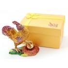 Декоративна метална кутийка за бижута във формата на петел с яйце - фаберже
