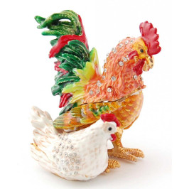 Декоративна метална кутийка за бижута във формата на петел с кокошка - фаберже