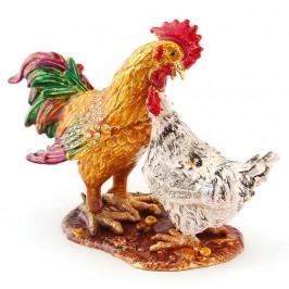 Декоративна метална кутийка за бижута във формата на кокошка и петел - фаберже
