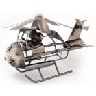 Метална поставка за вино - мъж и жена в хеликоптер