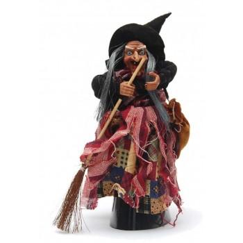 Сувенирна кукла - Баба Яга с метла и торба, издаваща звуци
