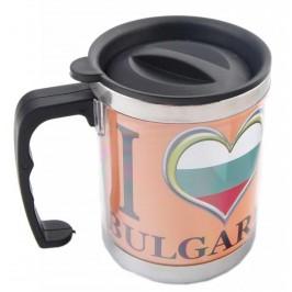 Сувенирна чаша - термос със сърце в цветовете на българското знаме